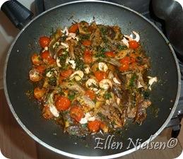 Østershatte, tomater, rejer og persille