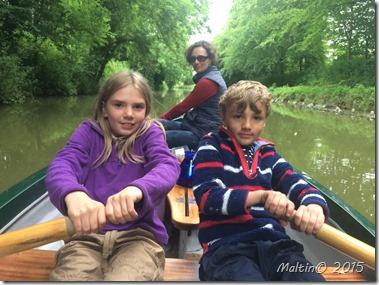 Galley slaves rowing hard
