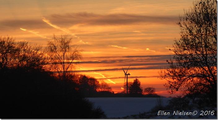 Solnedgang ved Præstø 22. januar 2016